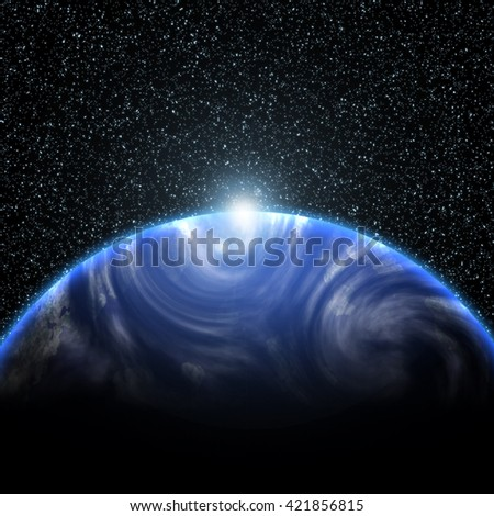 Blue sunrise, view of earth from space (Elements of this image furnished by NASA) - stock photo
