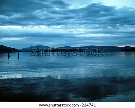 blue sunset 2 - stock photo