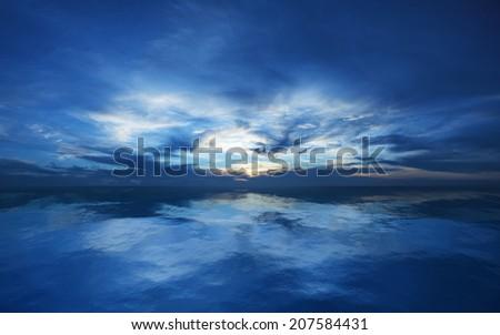 Blue sunset scene - stock photo