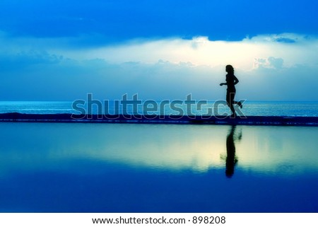 Blue sunset silhouette - stock photo