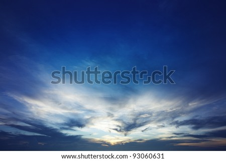 Blue sunset sky - stock photo