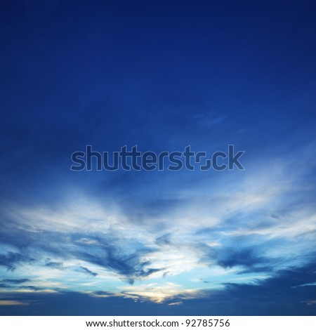 Blue sunset sky. Square composition. - stock photo