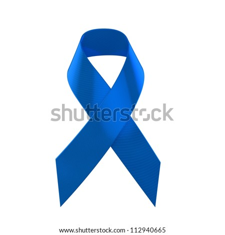 Blue Support Ribbon - stock photo
