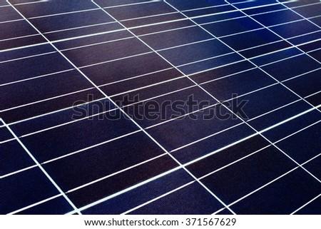 blue surface of solar panel closeup - stock photo