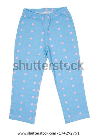 Blue sweatpants isolated on white background - stock photo