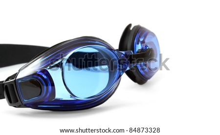 Blue swimming goggles on white background.