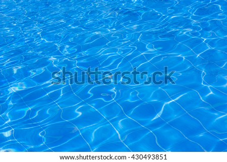 Blue swimming pool rippled water.