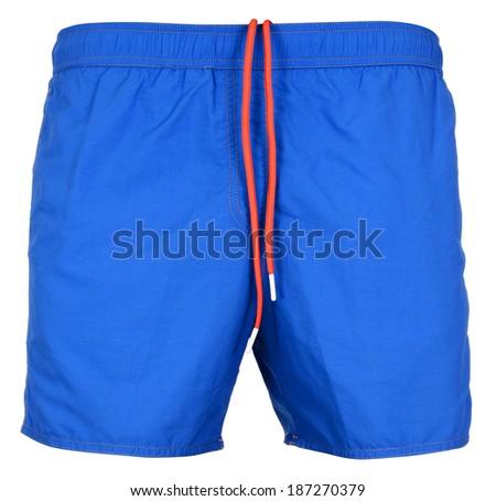 Blue swimsuit isolated on white background - stock photo