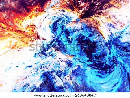 Blue swirl. Artistic texture waves of bright paints. Abstract bright color pattern. Modern futuristic background for wallpaper, interior, flyer cover, poster. Fractal art for creative graphic design. - stock photo