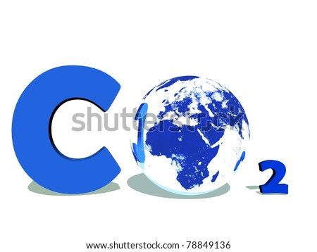 Blue symbol of carbon dioxyde with earth instead of O in white background - stock photo