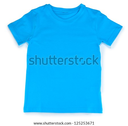 Blue t-shirt isolated on white - stock photo