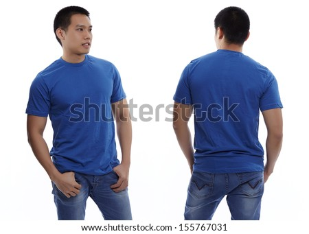 Blue t-shirt on a young man isolated front and back-Studio Shot