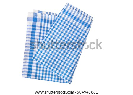 Blue table napkin (towel) on white background isolated
