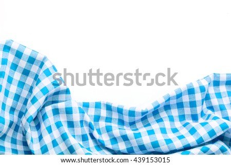 blue tablecloth on white background,crumpled fabric background