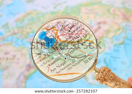 Blue Tack On Map World Magnifying Stock Photo Shutterstock - Baghdad map world