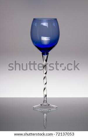 Blue Tall Wine Glass - stock photo