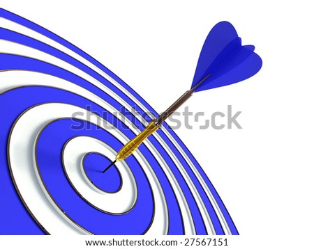 Blue target and dart isolated on white