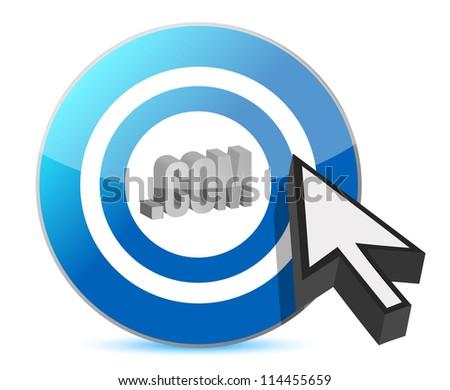 Blue target .com web illustration design over white - stock photo