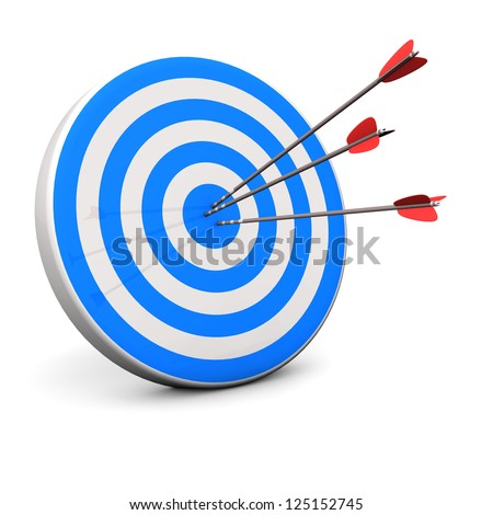 Blue target with 3 arrows in the bullseye. - stock photo