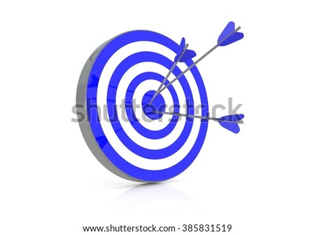 Blue target with 3 arrows in the bullseye, 3d illustration - stock photo