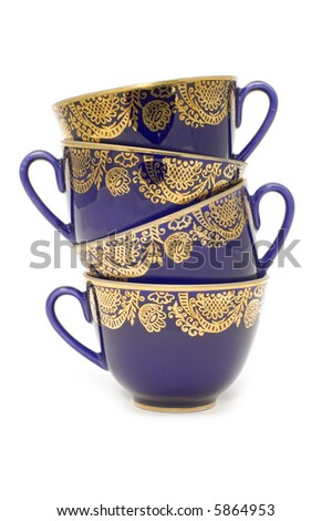 Blue tea cups - stock photo