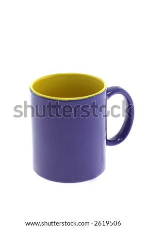 Blue tea mug on a white background - stock photo