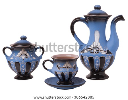 Blue tea set on a white background