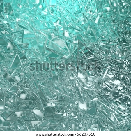 blue teal abstract broken glass background - stock photo