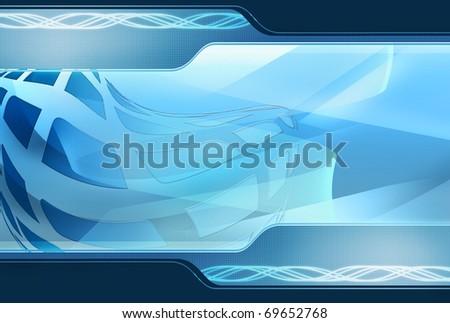 Blue technology background - stock photo