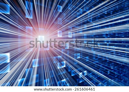Blue technology background with a bright piece. - stock photo