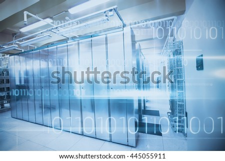 Blue technology design with binary code against image of data storage