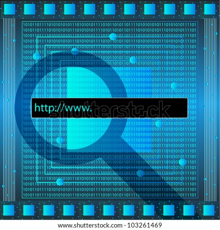 Blue Technology Wallpaper With Search Bar. Eps Version Also Available In Gallery. - stock photo