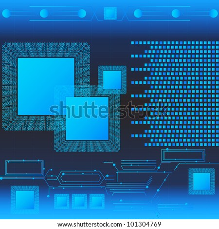 Blue Technology With Binary Language. Eps Version Also Available In Gallery. - stock photo