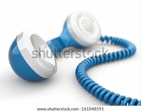 Blue telephone receiveron white background. 3d - stock photo