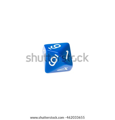 Blue ten sided dice for board games