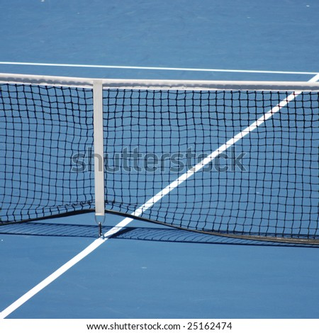 Blue tennis court - stock photo