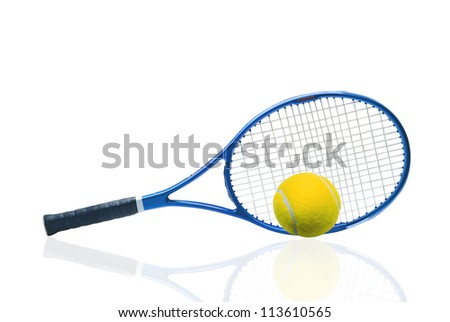 Blue tennis racket and yellow ball isolated white background - stock photo