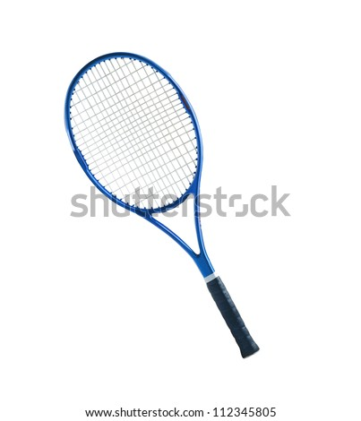 Blue tennis racket isolated white background - stock photo