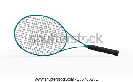 Blue tennis racket rendered on white background