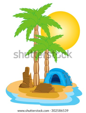 Blue tent on tropical island with palm.