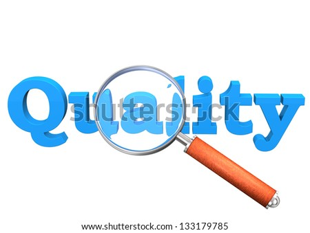 Blue text quality with loupe on the white background. - stock photo