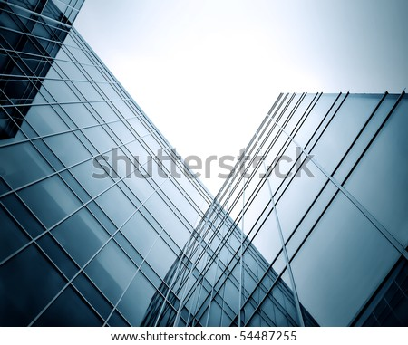 blue texture of glass building at night - stock photo