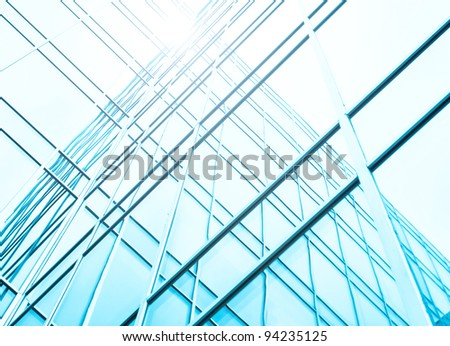 blue texture of skyscraper - stock photo