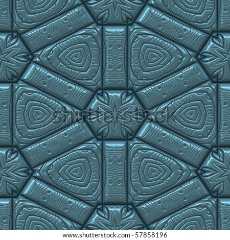 blue textured leather background with star or leaf and hearts pattern. tiles seamlessly - stock photo