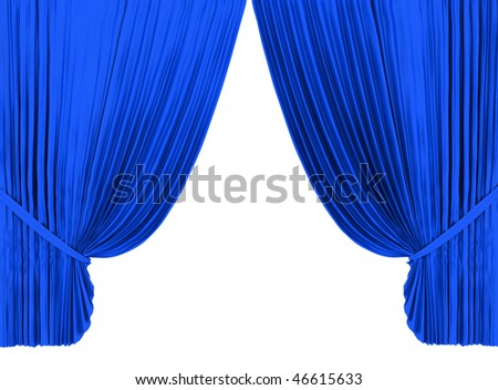Blue theater curtain isolated on white background - stock photo