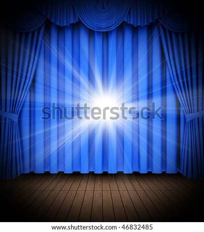 Blue theater curtain opening scene with spot lights - stock photo