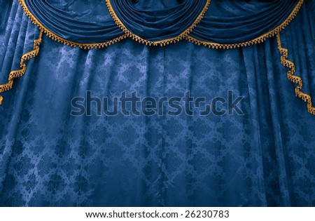 Blue theater curtain. Stage show presentation concept - stock photo