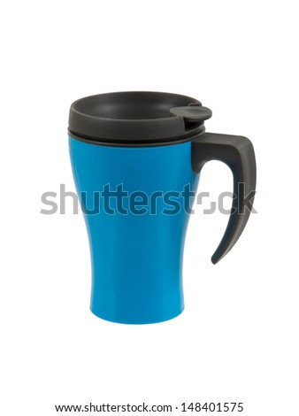 Blue thermos isolated on a white background - stock photo