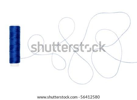 Blue thread - stock photo