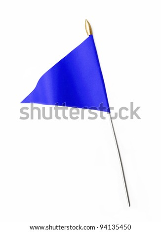 Blue three cornered flag isolated on white background - stock photo